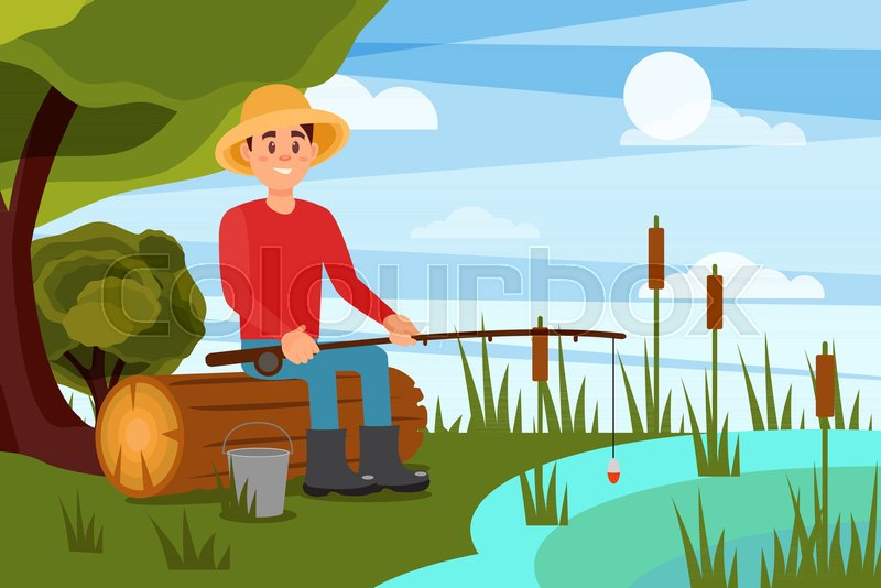 Young man fishing on lake. Guy sitting on log with rod in hands. Beautiful nature landscape. Summer outdoor recreation. Cartoon male character with happy face expression. Colorful flat vector design, vector