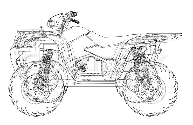 ATV quadbike concept outline. Vector rendering of 3d. Wire-frame ...
