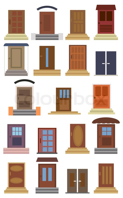 Collection Of Closed Entrance Doors Of Different Types Color Doors