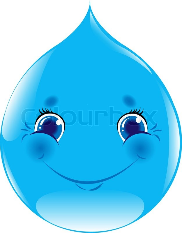cartoon water drop isolated on white stock vector