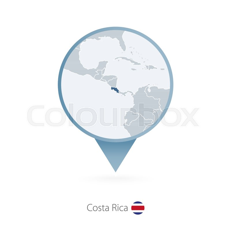 Map pin with detailed map of Costa ... | Stock Vector | Colourbox