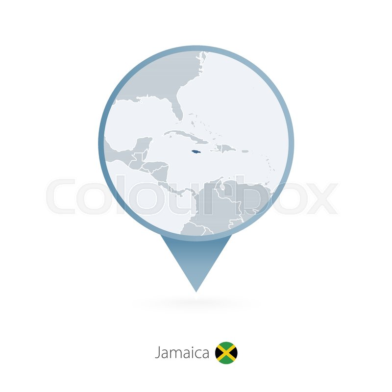 Map pin with detailed map of Jamaica ... | Stock vector ...