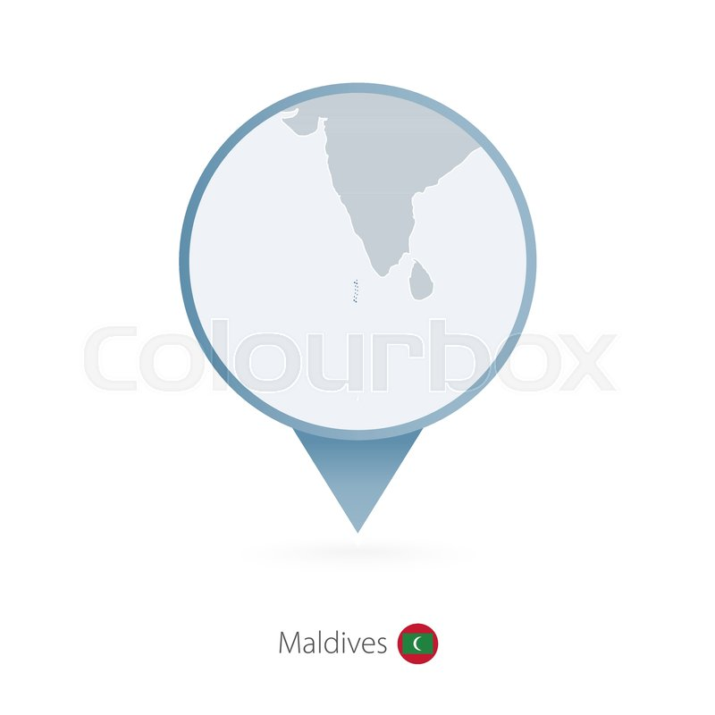 Map pin with detailed map of Maldives ...   Stock Vector   Colourbox
