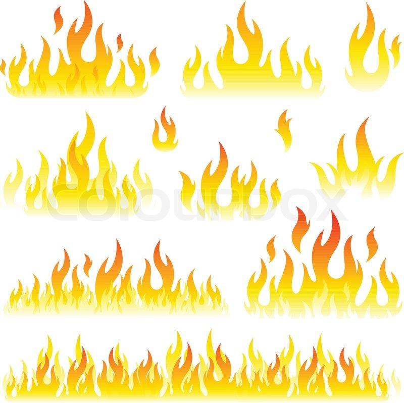 Fire flames symbol set... Summer Camp Vector
