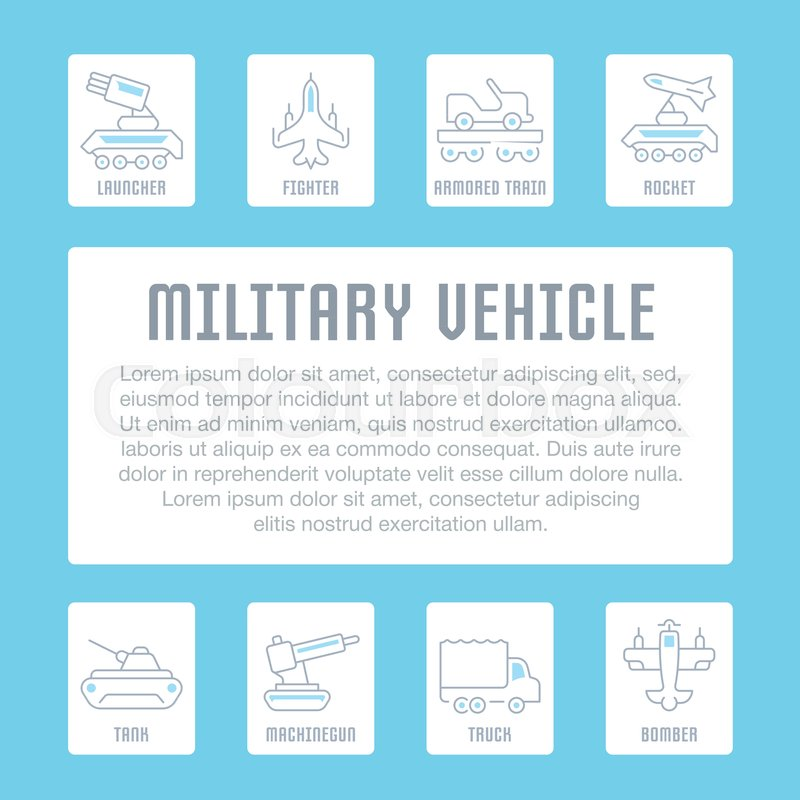 line illustration of military vehicle concept for web banners and