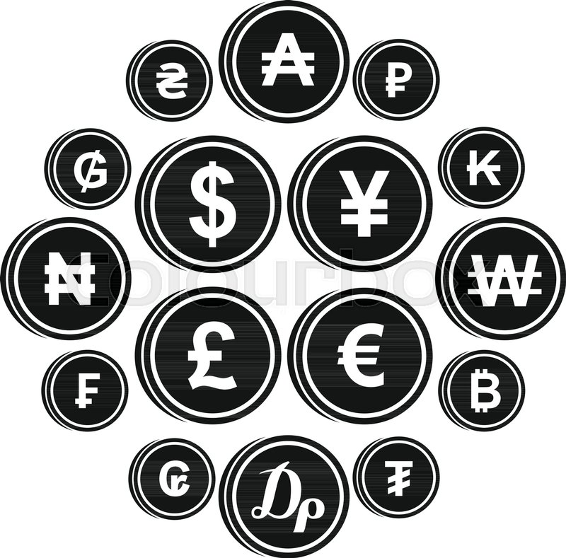 Currency From Different Countries Icons Set In Simple Style Money