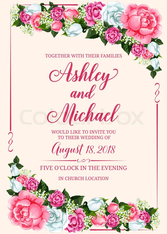 rose flower frame of wedding invitation banner template marriage