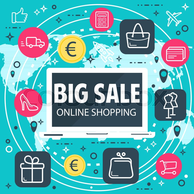 Online shopping and internet sale buy poster for web shop or store sale buy poster for web shop or store technology vector flat design of internet online shopping wallet cart or bag icons on retail network world map gumiabroncs Images
