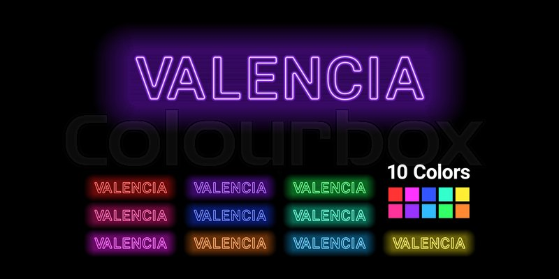 Neon Name Of Valencia City Vector Stock Vector Colourbox