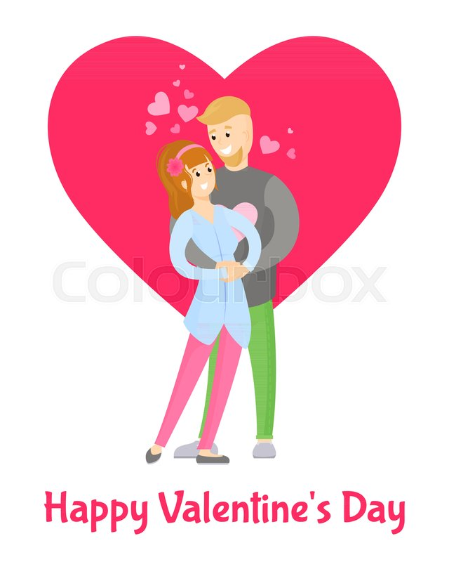 Happy Valentines Day Poster With Boy And Girl Tenderly Hugging