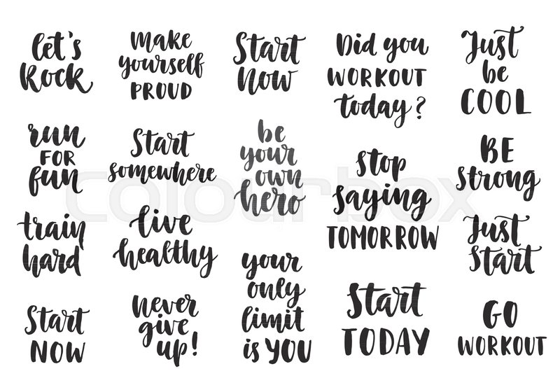 Set Of Sport Inspirational Quotes On White Background Brush Lettering Hand Drawn Typography Design Elements Motivational Poster For Gym Fitness