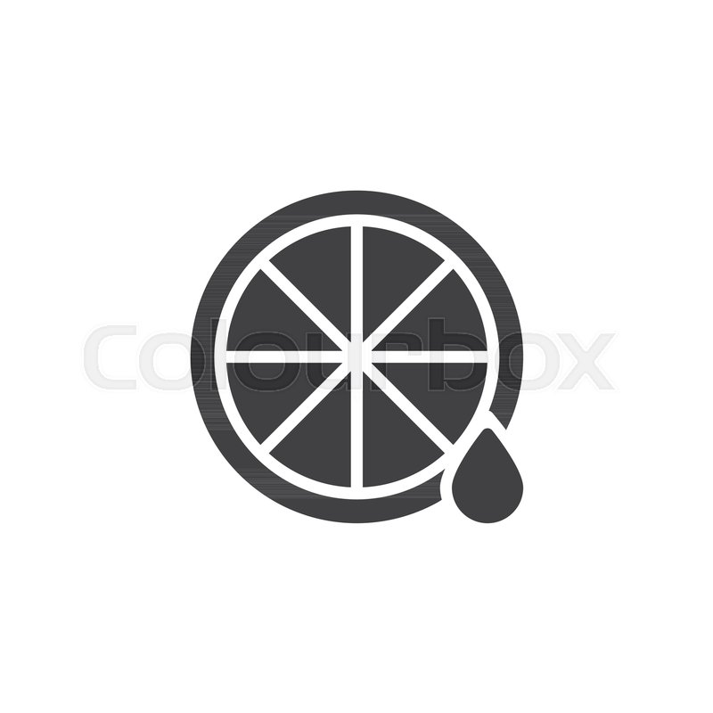 Lemon And Juice Drop Vector Icon Filled Flat Sign For Mobile