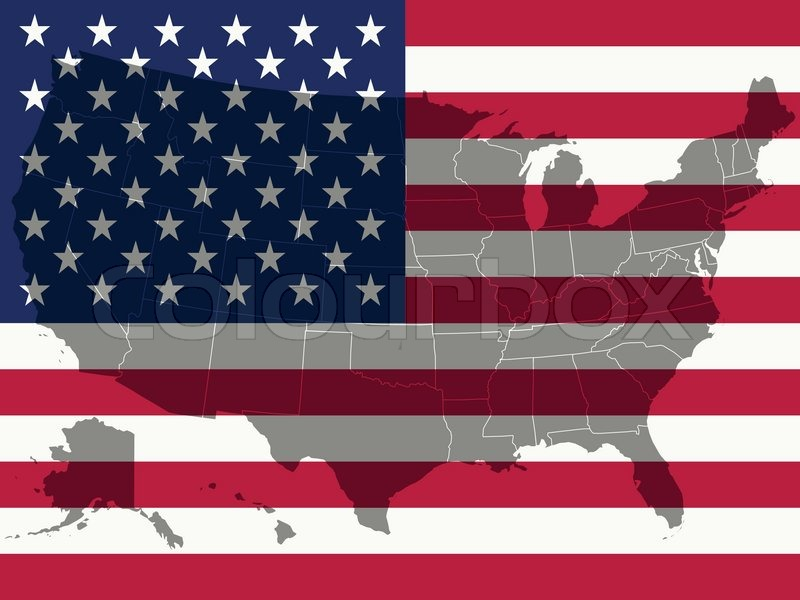 stock vector of united states flag and map abstract vector art ilration
