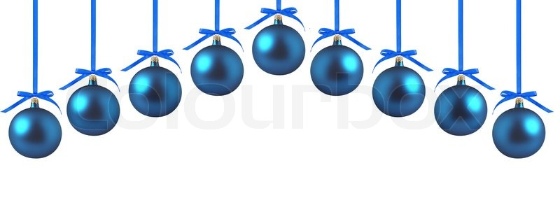 blue christmas balls with bows on white background stock photo colourbox - Blue Christmas Balls