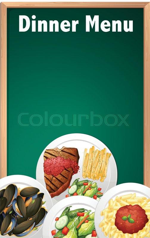 a dinner menu on chalk board template illustration stock vector
