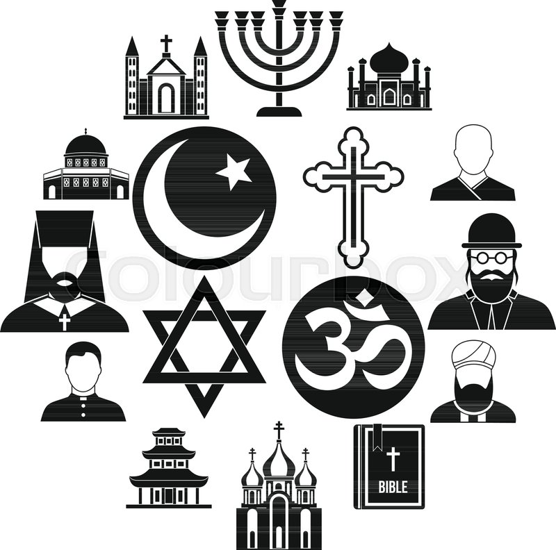 Religious Symbol Icons Set In Simple Style World Religions And