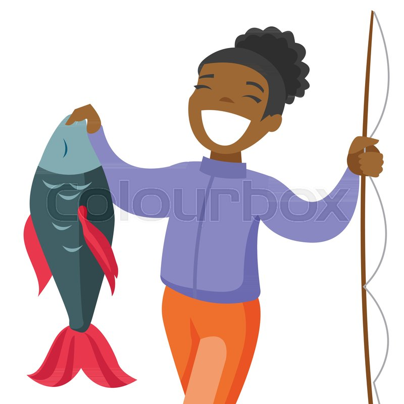 Happy Black Fisherwoman Proud Of Catch Stock Vector Colourbox
