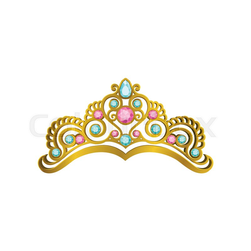 Golden Queen Crown Decorated With Precious Pink And Blue Stones