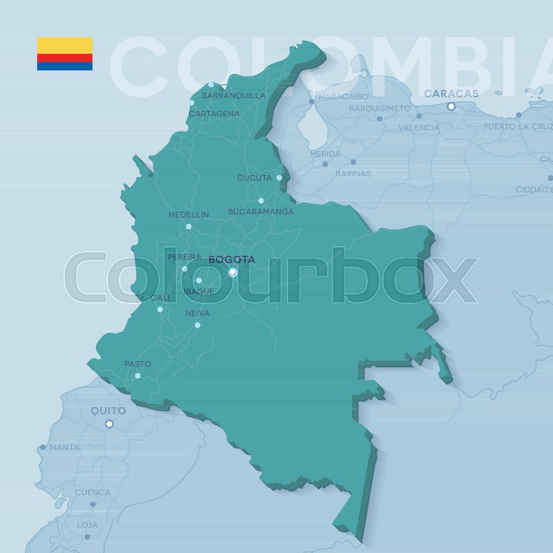 3d verctor map of cities and roads in South America. Colombia and ...