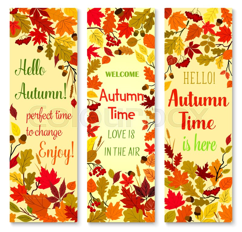 autumn season and fall nature banner set orange and yellow leaves