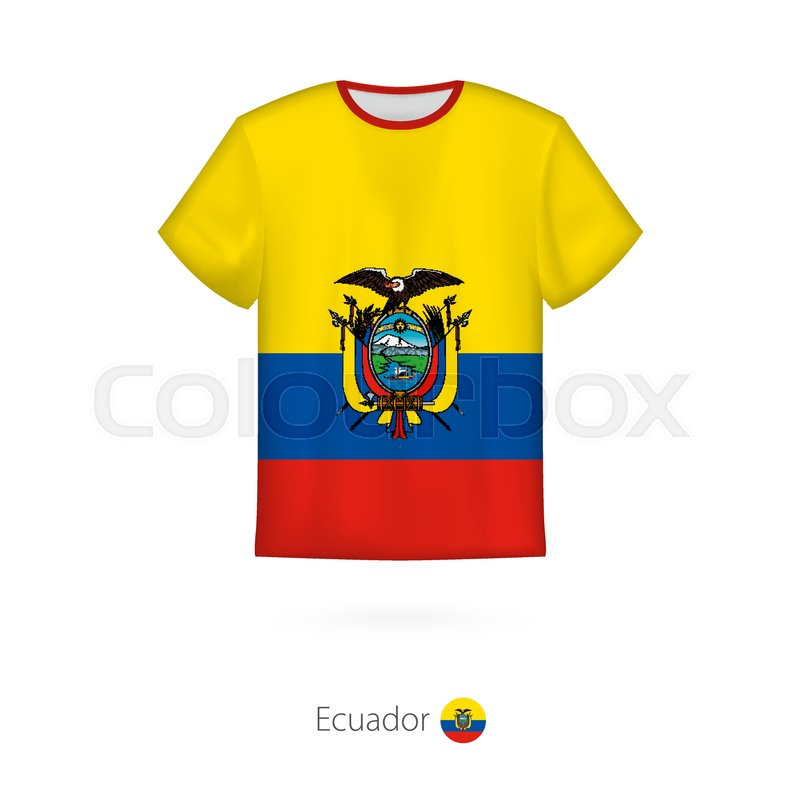 26fa049aa24 T-shirt design with flag of Ecuador. ...