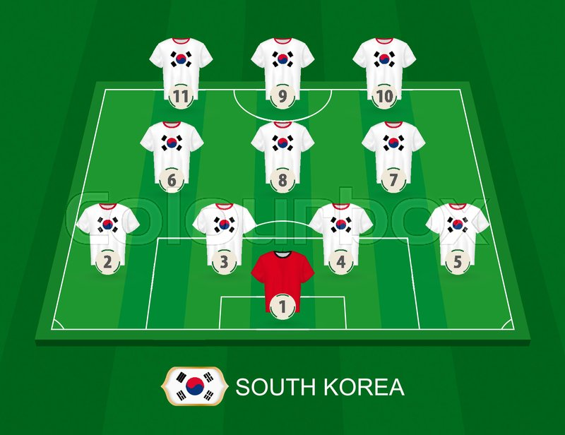 a8a3794ba Soccer field with the South Korea ...   Stock vector   Colourbox