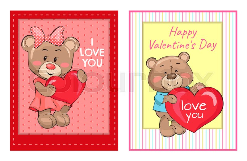 I Love You Happy Valentines Day Posters Set With Bears Holding Red
