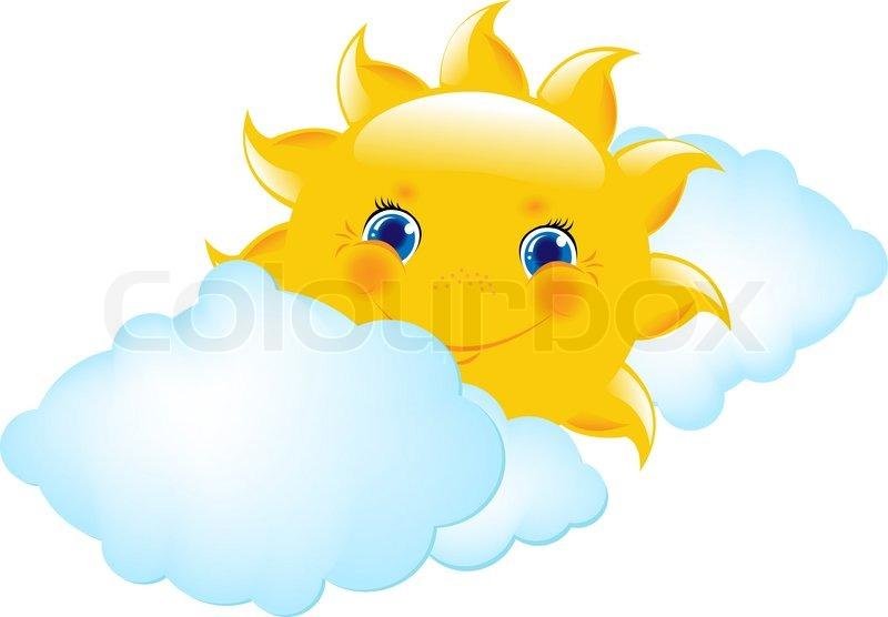 Cartoon sun and cloud vector illustration stock vector - Imagenes de nubes infantiles ...