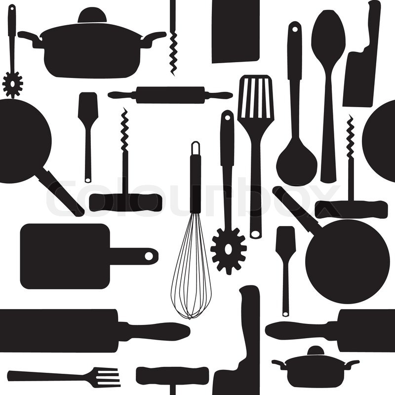 Vector Seamless Pattern Of Kitchen Tools Stock Vector