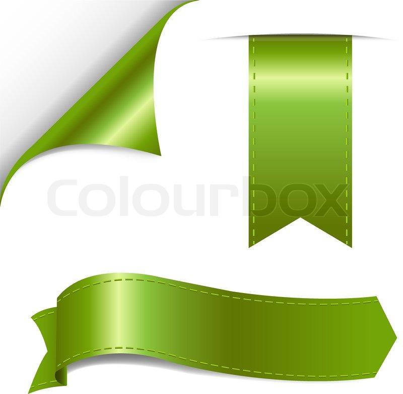 Green Ribbon Set Vector Illustration Stock Vector