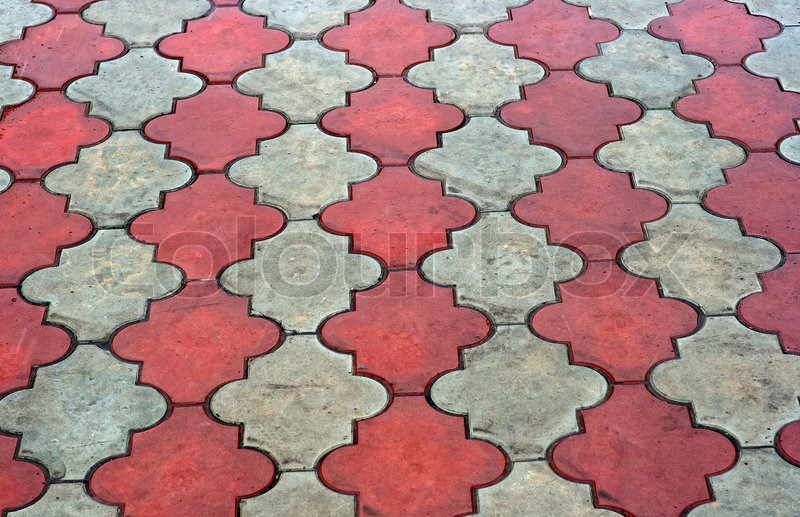 Red And Grey Paving Tiles Stock Photo Colourbox