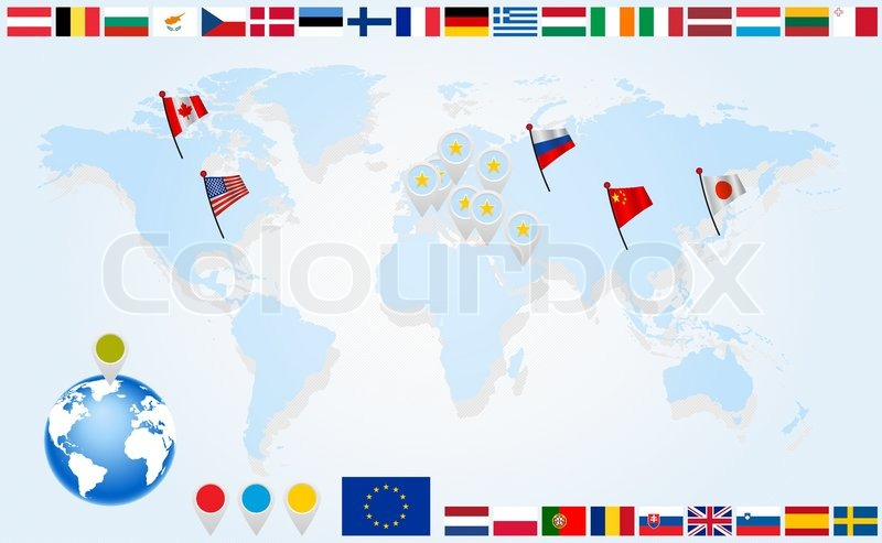 Flags of eu countries on world map and globe with pointers stock flags of eu countries on world map and globe with pointers stock vector colourbox gumiabroncs Gallery