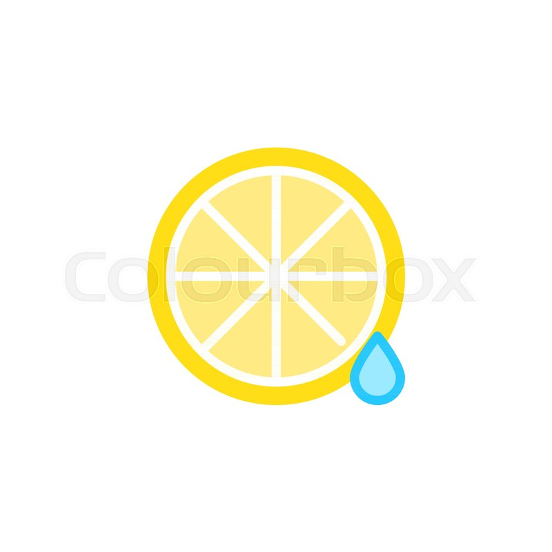 Lemon And Juice Drop Flat Icon Vector Sign Colorful Pictogram