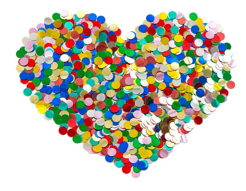 Confetti in heart shape colorful background red, blue ...