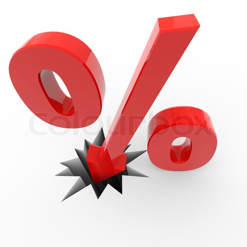 Discount Prozent-Zeichen brechen Boden. | Stockfoto | Colourbox