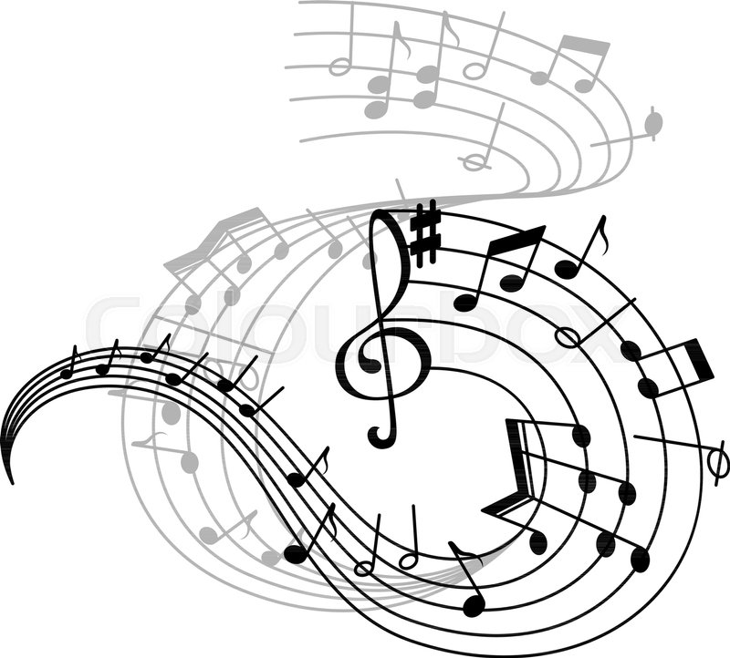 Music Note Stave Icon Of Musical Notation Symbols Swirling Musical