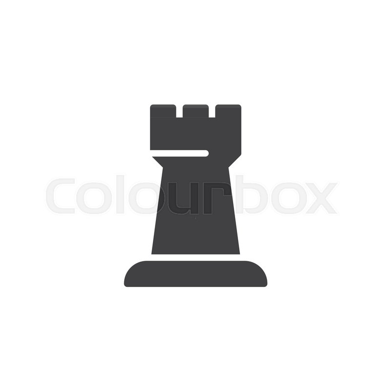 Chess Rook Vector Icon Filled Flat Stock Vector Colourbox