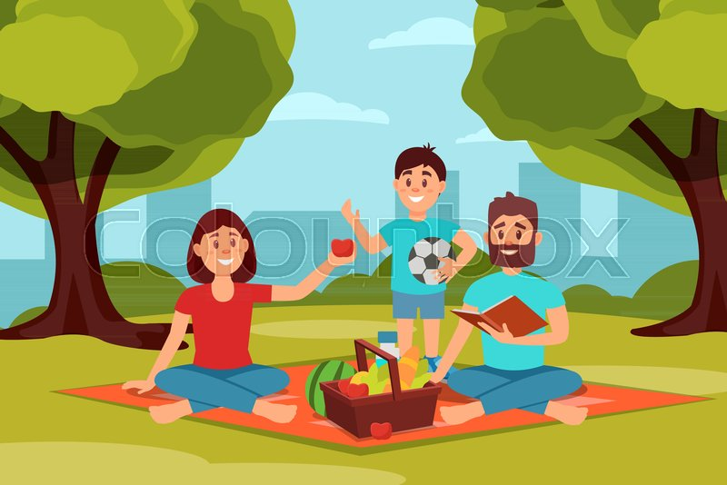 Family on picnic in park. Parents sitting on blanket. Green trees, bushes and city buildings on background. Cheerful kid holding ball. Recreation on fresh air. Outdoor activity. Flat vector design, vector