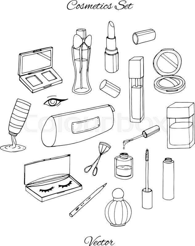 Hand Drawn Cosmetics Set With Parfume