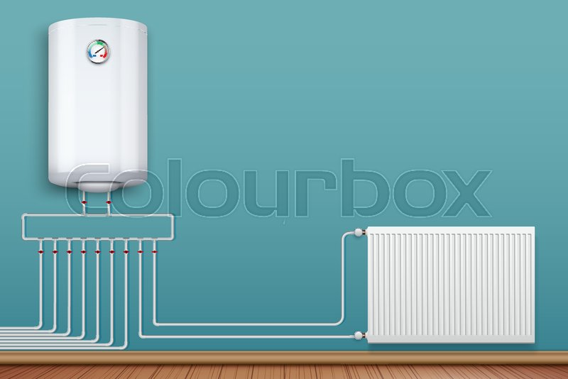 Water heater Boiler on wall and Heating radiator in room with ...