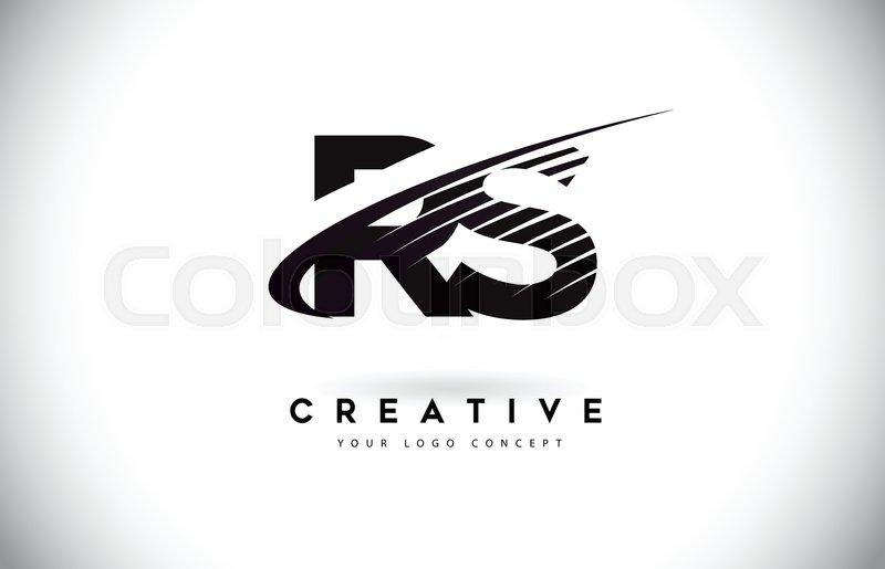 rs r s letter logo design with swoosh and black lines modern creative zebra lines letters vector logo stock vector colourbox