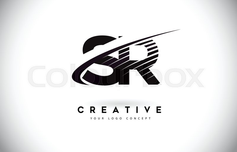 sr s r letter logo design with swoosh and black lines modern creative zebra lines letters vector logo stock vector colourbox