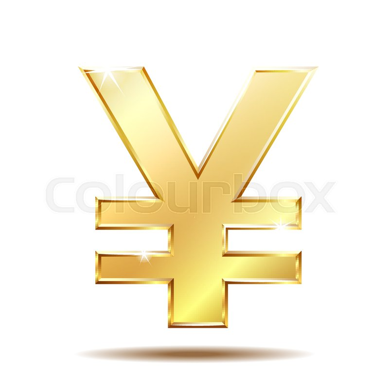 Shiny Golden Yen Currency Symbol Isolated On White Vector