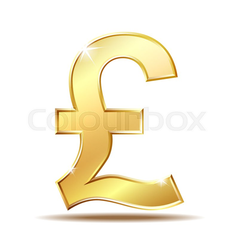 Shiny Golden Pound Currency Symbol Vector Illustration Isolated On