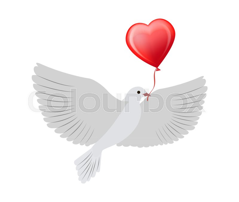 Dove Flying With Balloon Of Heart Shape Symbol Of Eternal And Pure