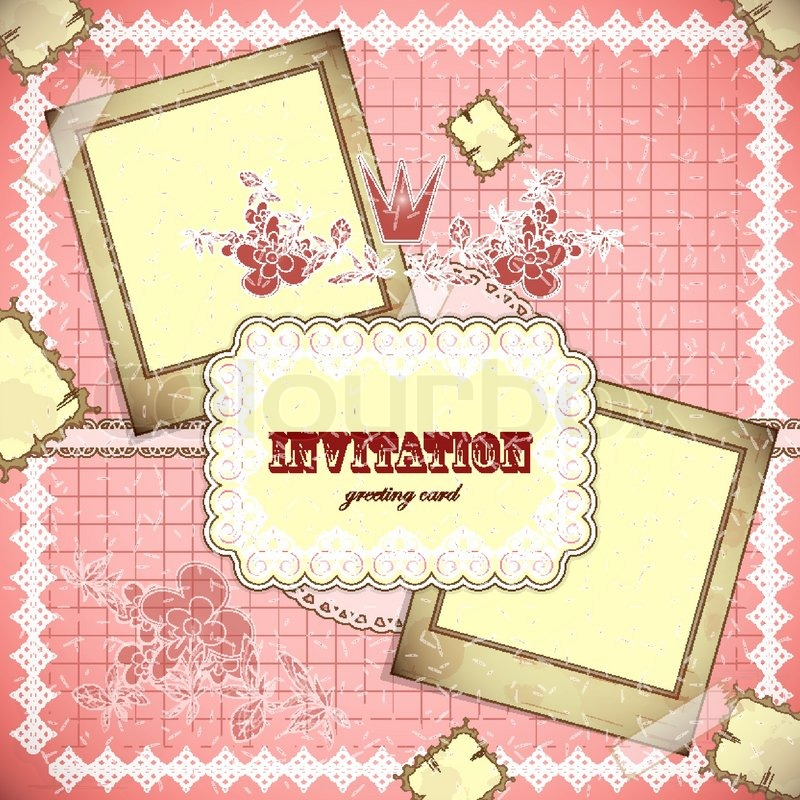 Stock vector of 'Vintage card with place for text - scrapbook style - vector illustration'