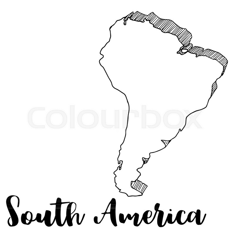 Hand Drawn South America Map Stock Vector Colourbox
