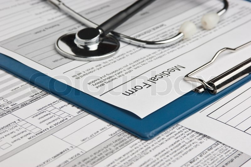 Clipboard with medical form and phonendoscope, stock photo