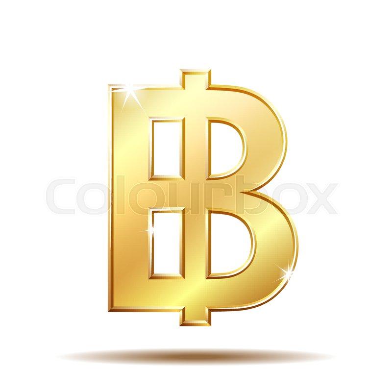 Thai Baht Golden Currency Symbol Money Sign Vector Illustration On