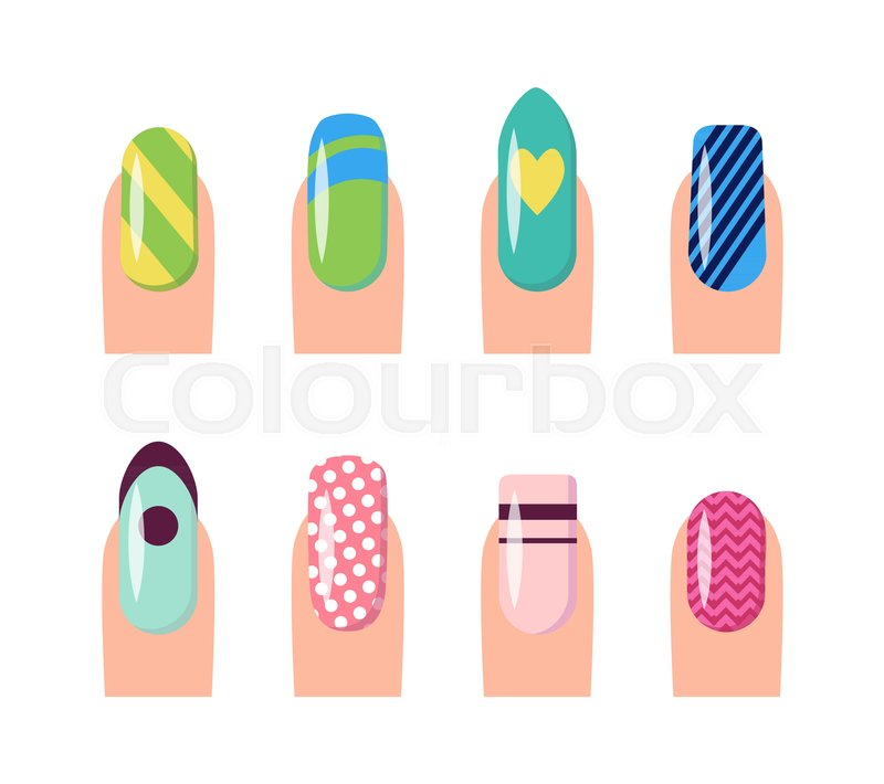 nail service and art poster with template fingernails and patterns